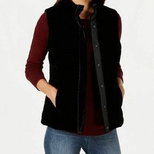 Charter Club Womens 1X  Black Velour Vest H6-03